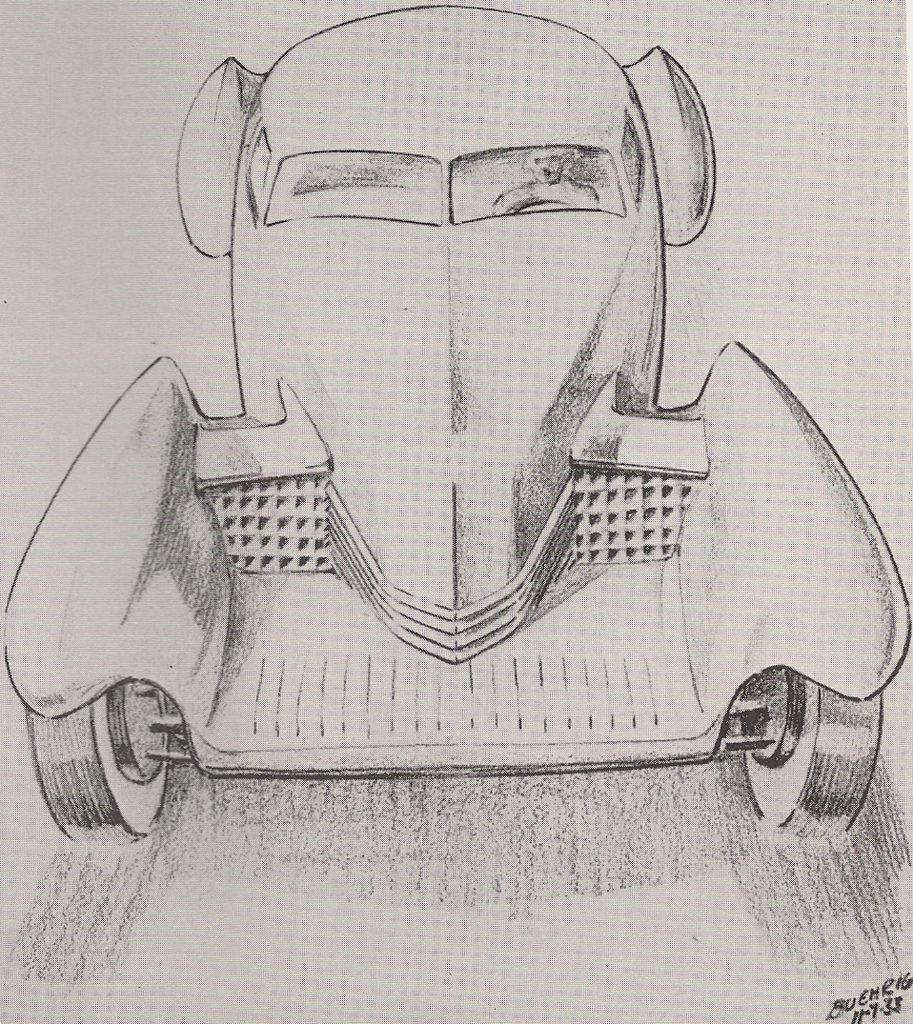 An early Buehrig sketch from 1933, meant to be a 'baby Duesenberg', but clearly inspired what was to become the Cord 810 years later.