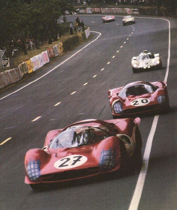 The 330s at the 1966 LeMans 24 Hour, following the Fords