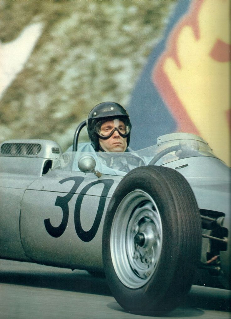 Gurney at the 1962 French Grand Prix, winning the only Formula One victory for Porsche as a manufacturer.