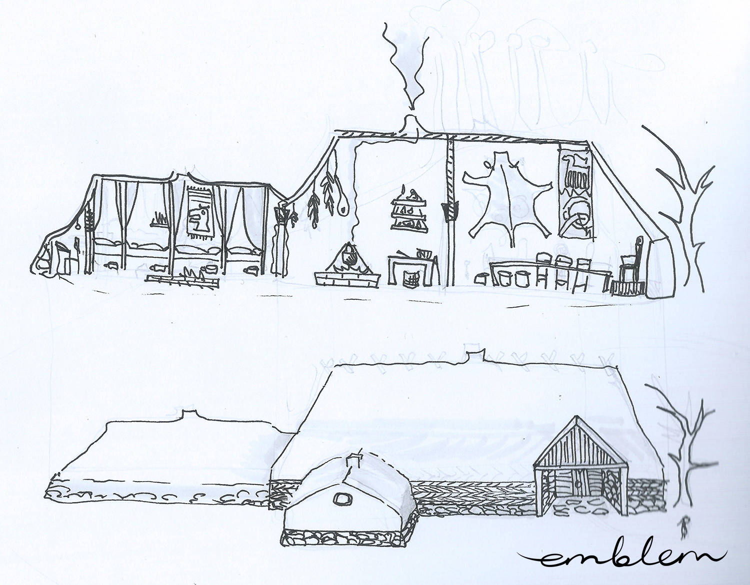 Early sketch of the house in Midgard
