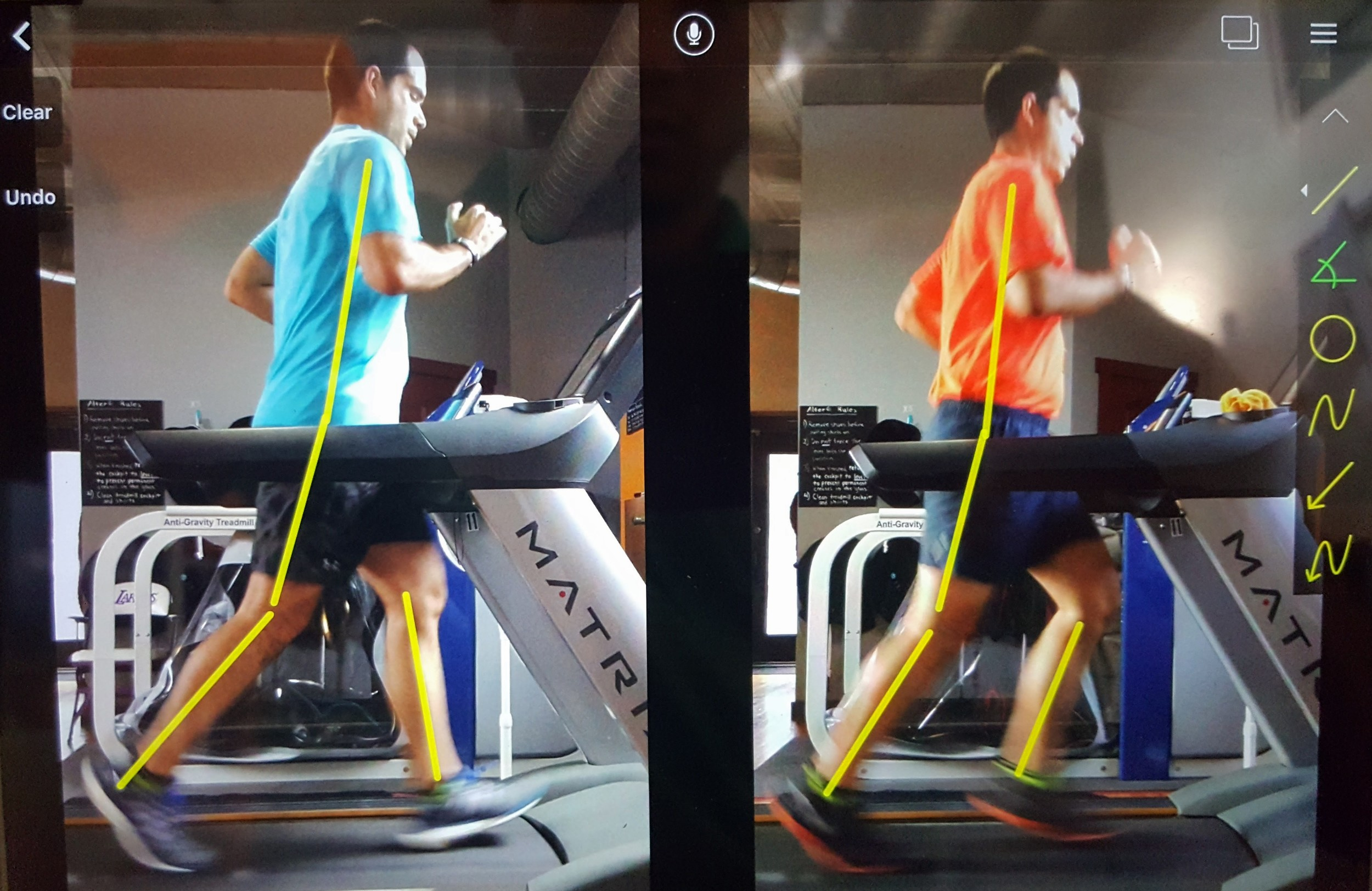 CLIENT had a step cadence of 180-184 at both the initial evaluation AND at the follow-up visit. (**Increasing cadence does not always automatically improve your mechanics**) Cuing and appropriate drill assignments improved his legs' position to transfer force into the ground and to set up a more optimal foot strike with the other leg.