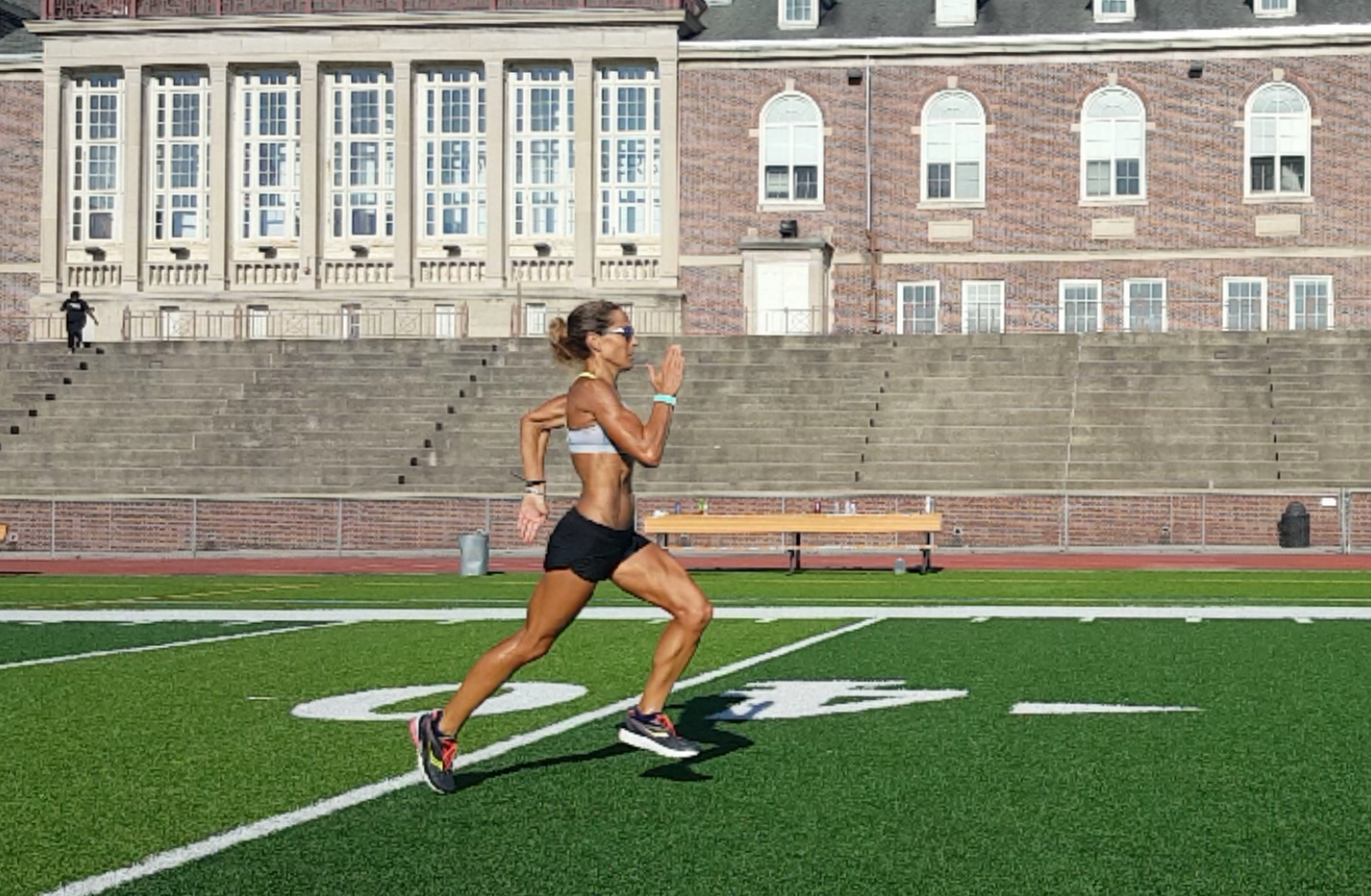 BE athlete and Olympic Trials Qualifier, Amy Robillard, working on her running form with BE's running specialist.