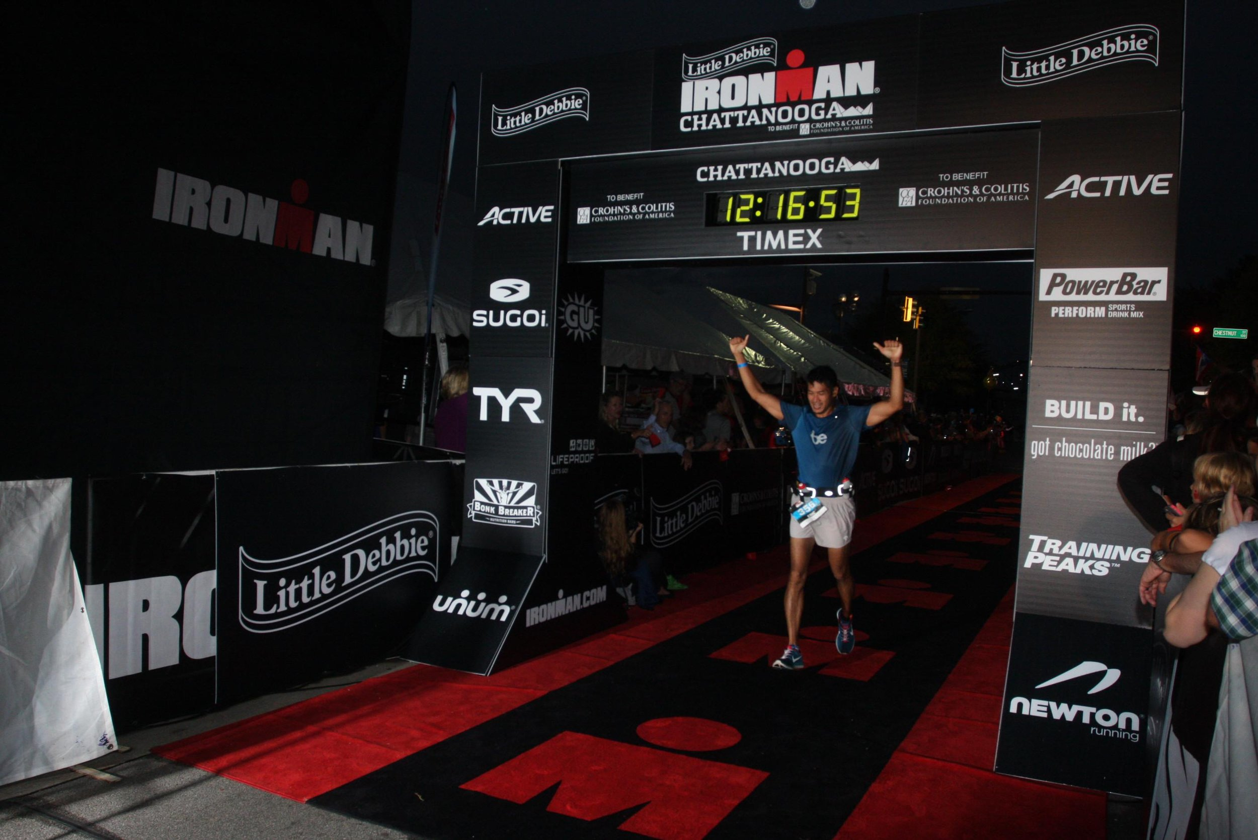 Eric finishing his first Ironman with a net time of 11:55:37.