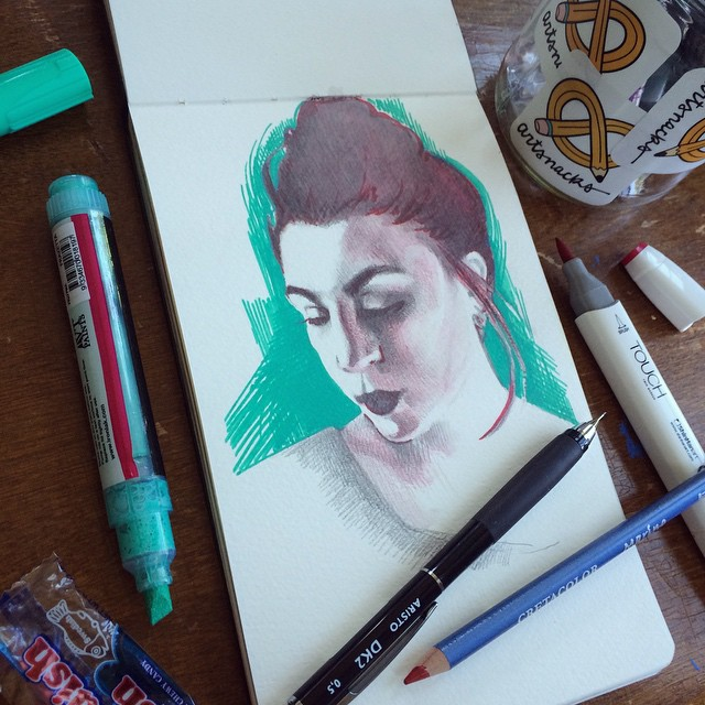 """via  melissasuestanley   """"Haven't done an #Artsnacks Challenge in a while - create something using only what came in this month's box...fun stuff."""""""