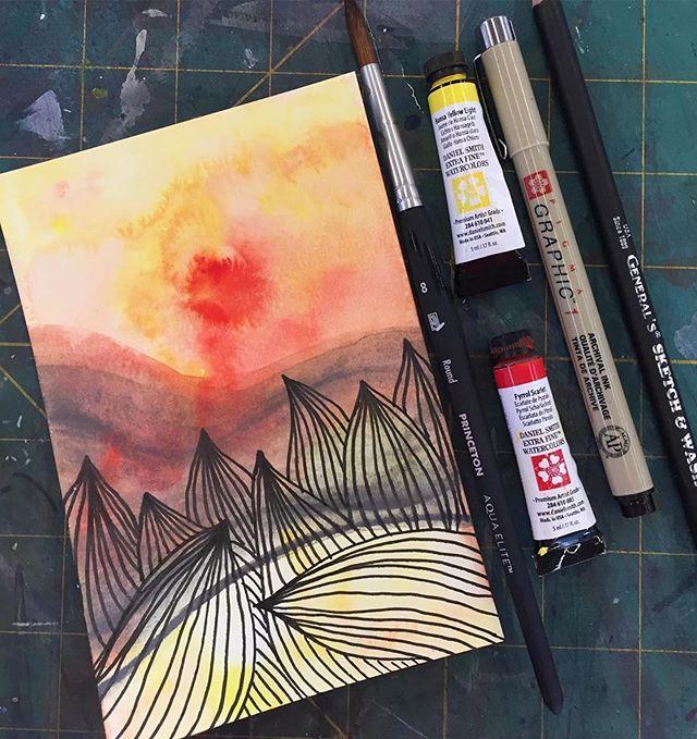 Repost from @lrsteiner7 ・・・ #artsnackschallege July @artsnacks #watercolor #watercolormonth #watercolors #artsnacks @generalpencil #micron #nationalwatercolormonth