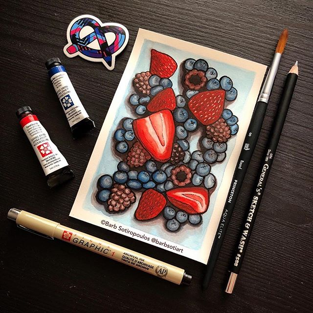 Repost from @barbsotiart ・・・ Summer berries seemed appropriate for the colour palette in this month's @artsnacks box! Still working on getting better at watercolour but I'm loving it. When you are new to this medium it's easy to be a little put off by the small and sometimes pricey tubes but you get SO MUCH out of a tiny bit of paint! Another solid combo of products Artsnacks team! . . . #artsnacks #artexperiment #artsnackschallenge #illustration #iloveartsupplies #mixedmediaart #yycartist #artistsoninstagram #mixedmedia #mixedmediaart #princetonbrushes #pigmamicron #danielsmithwatercolor #generalspencils #watercolourart #berries #berryart