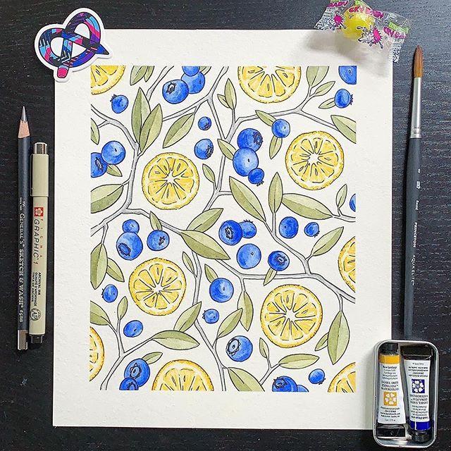 Repost from @hmerhardt  July #artsnackschallenge 🍋#artsnacks #watercolor #lemons #blueberry @danielsmithartistsmaterials @princetonbrush @sakuraofamerica @generalpencil @artsnacks #timelapse #painting