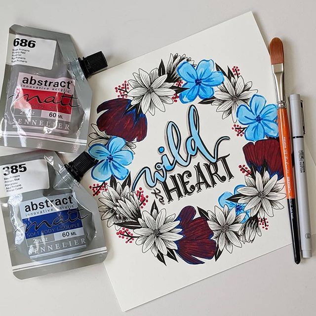 Repost from @melindabyanothername ・・・ My August #artsnackschallenge. Played with some different stuff. Didn't all work out how I imagined, but it was fun. #artsnacks #wreath #handlettering #drawing #painting #flowers