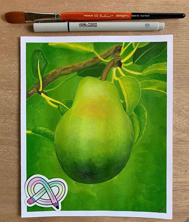 Repost from @ivy.tanner_art ・・・ •Pear• This month's @artsnacks box was awesome! The acrylic paint they send was SO velvety, creamy, and wouldn't dry out quickly. The paintbrush was lovely. Even though I didn't use it on this particular project, the Winsor and Newton fineliner it is SO nice!🍐 • • #ivylynnsart #artsnacks #artsnackschallenge #acrylic #acrylicpainting #pear @winsorandnewton @kingartcompany @sennelier1887