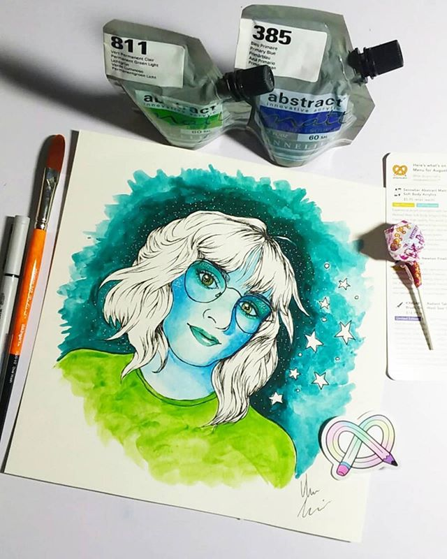 Repost from @alex_levins.art ・・・ My August #artsnackschallenge ! Came up with a sorta spacey self-portrait. The Sennelier acrylic pouches were super pigmented and easy to water down and layer, which I love. The winsor newton pen didn't smudge at all, even after multiple layers of water. And the king art brush is super soft and blends wonderfully. 10/10 box.  #artsnacks