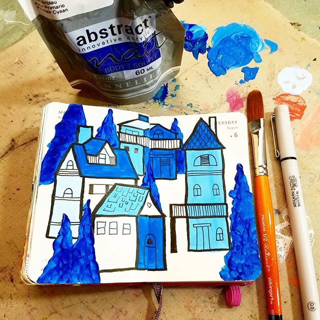 Repost from @projectparlor ・・・ Day 217 & 218/365 I did the Artsnacks Challenge for August in my mini Moleskine sketchbook. Paint in a bag... interesting. Love this paintbrush, Kingart. And this fineliner is good stuff, Winsor & Newton. **** #projectparlorart #moleskine #illustration #dailyart #drawing #sketchbook #artjournal #painting #mixedmedia #artsnackschallenge #houses #houseillustration #artsnacks