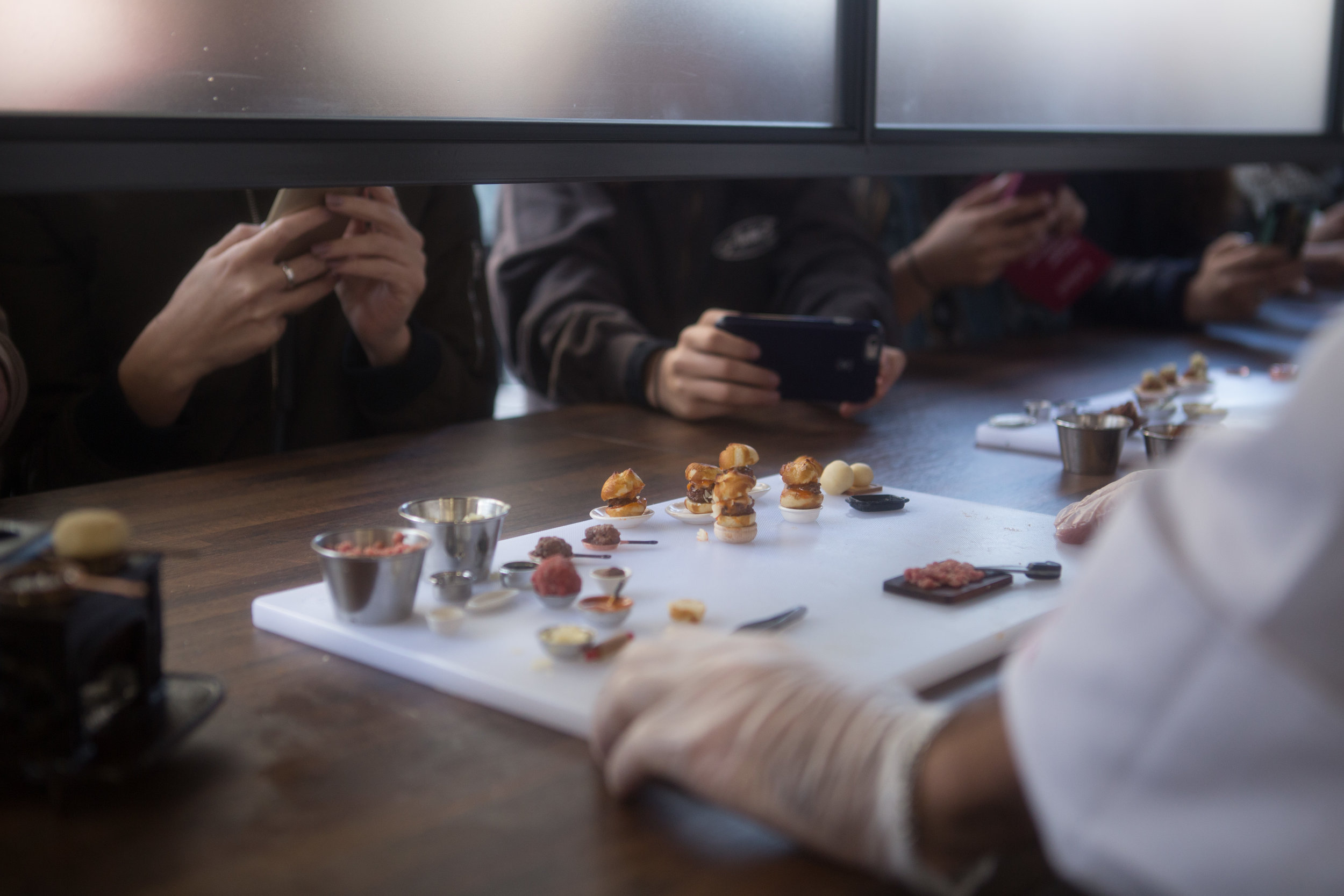 While people waited in line to order their tiny dishes, they could watch our chefs do tiny food demonstrations using real ingredients and two functioning mini stoves.