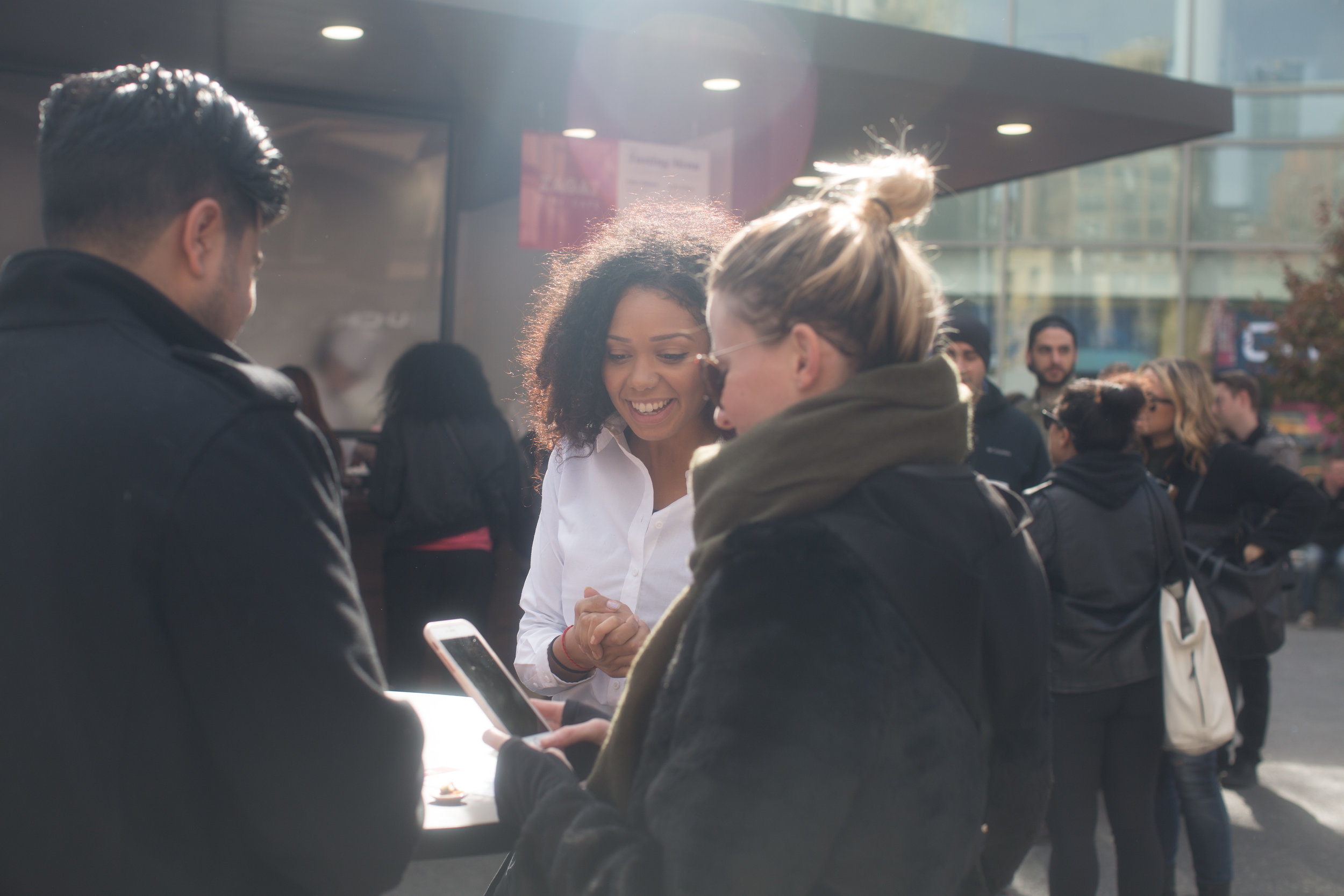 """Brand ambassadors showed waiting diners how to download the app and find the """"human-scale"""" versions of their favorite dishes. I choreographed the brand ambassadors, providing messaging and training."""