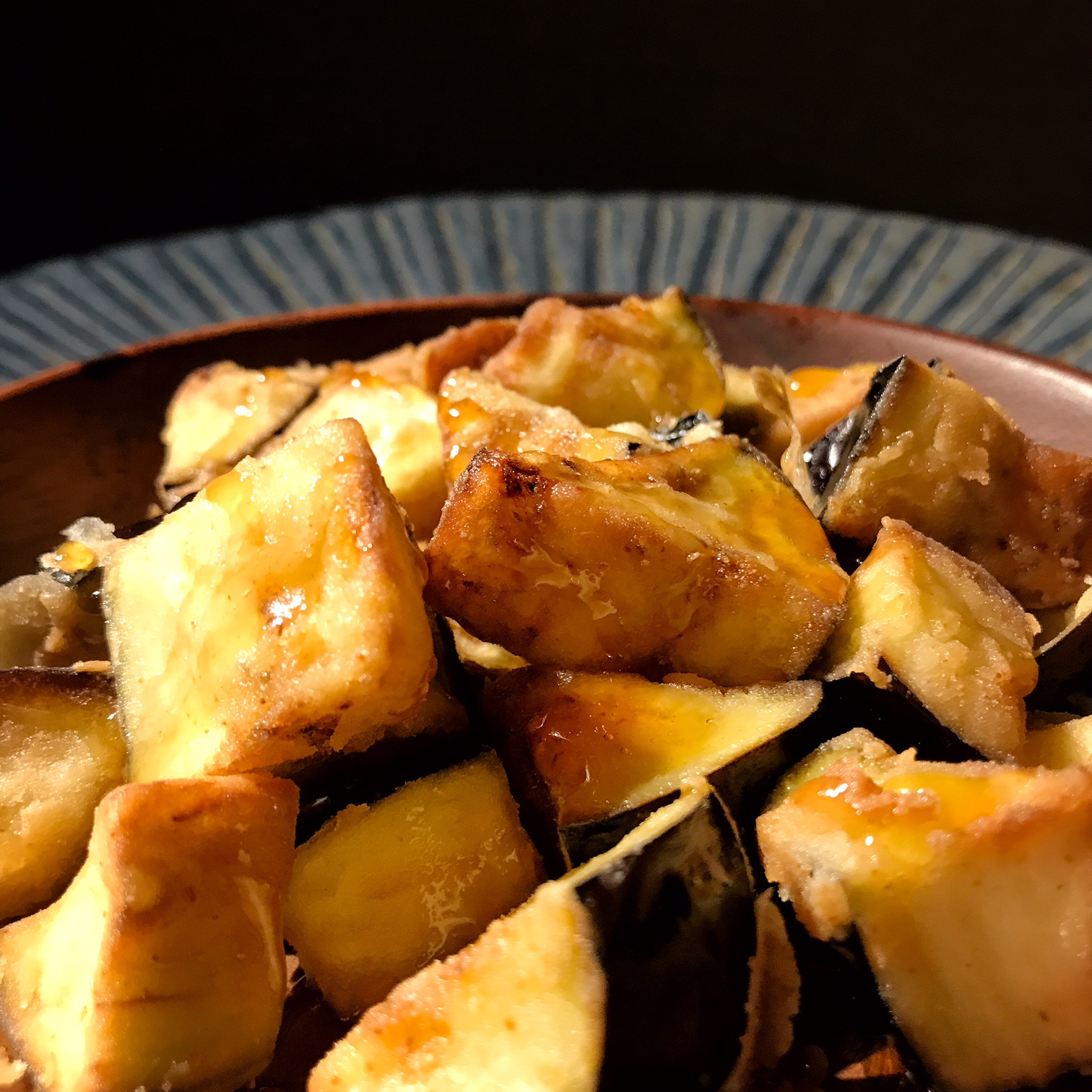 Fried aubergine with chamomile honey