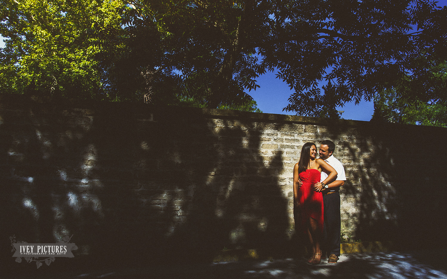 Coral dress engagement session