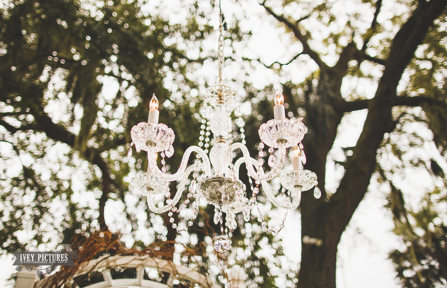 outdoor chandelier at wedding