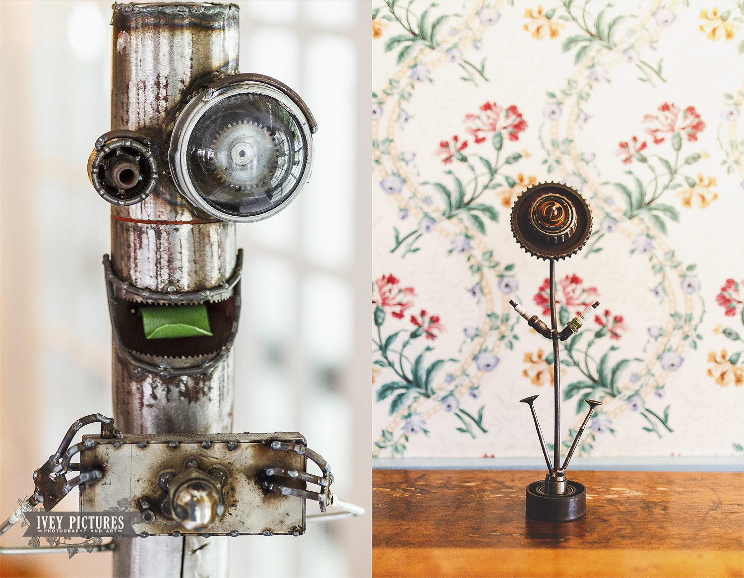 Anthony made all of the centerpiece flowers for the tables from old car parts. He also made this little monster with a camera for us!