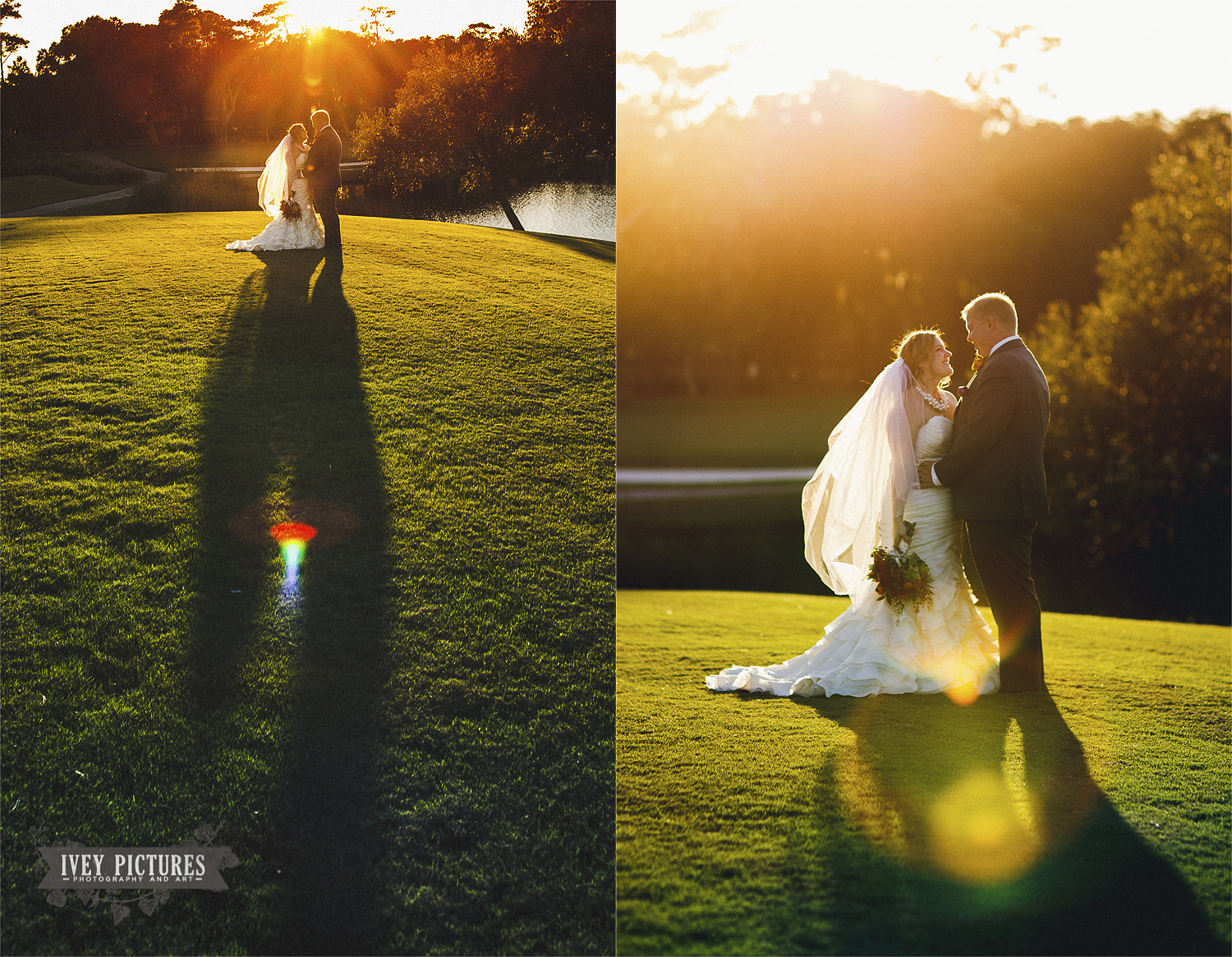 Sunset bride and groom photo on golf course
