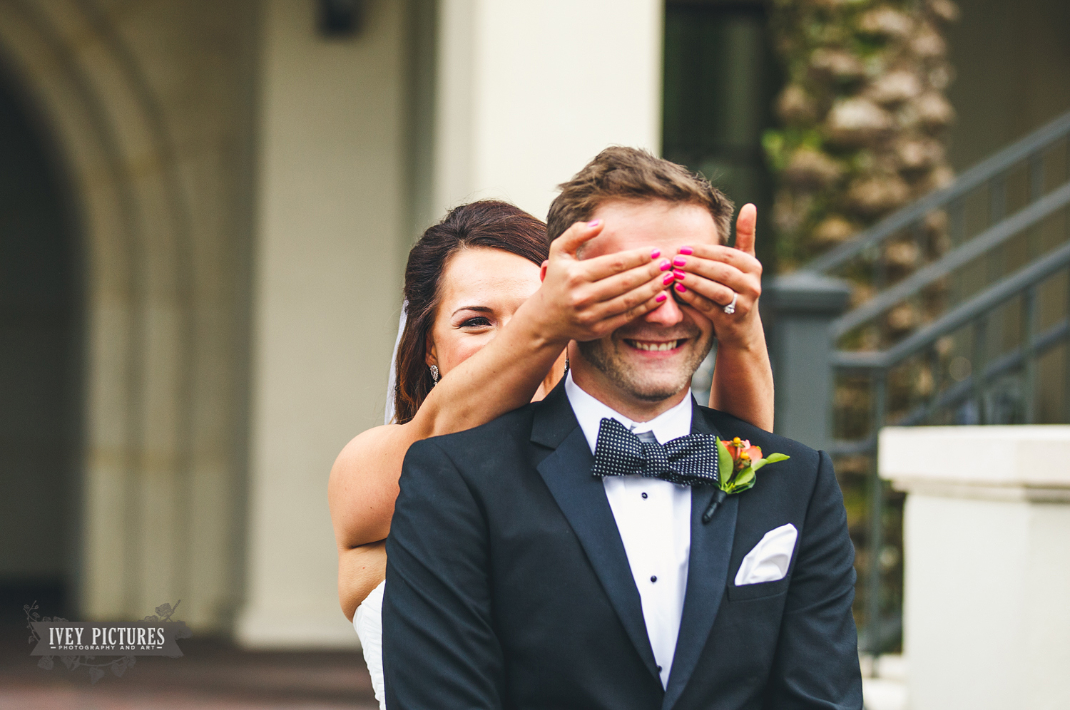 Bride and Groom First Look at Ponte Vedra Wedding