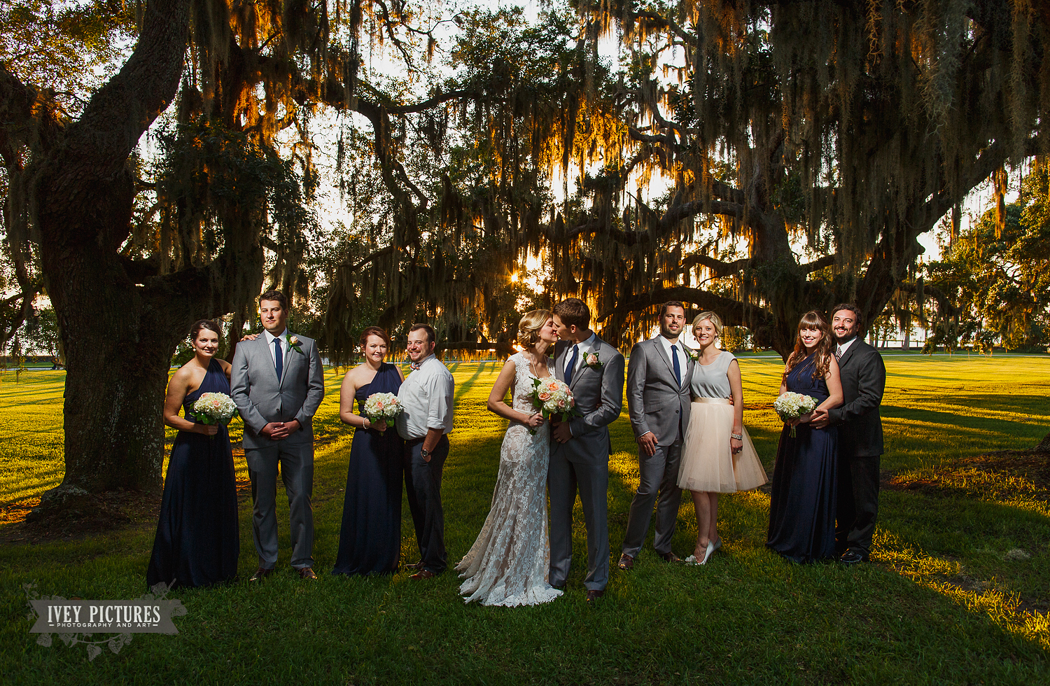 Wedding party at sunset