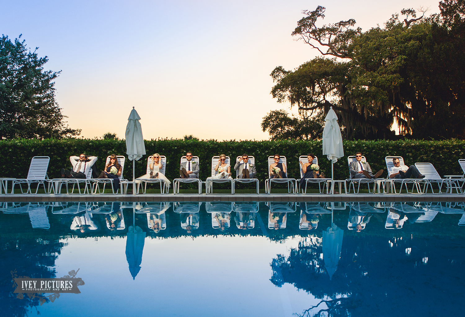 Wedding Party by the pool Jekyll Island