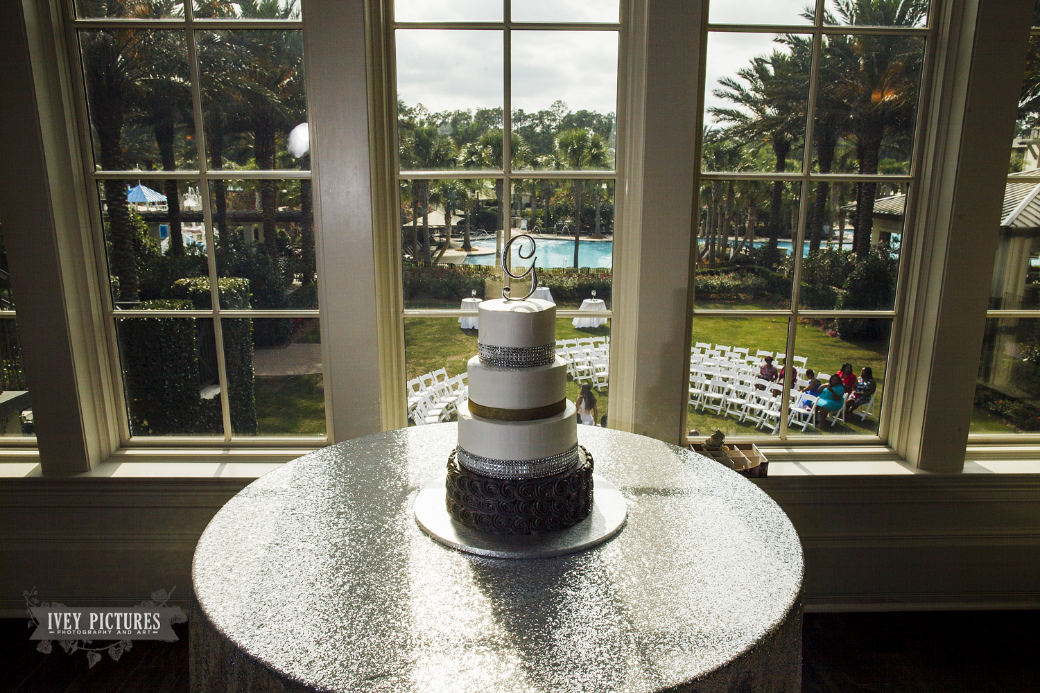 wedding cake at Crosswater Hall