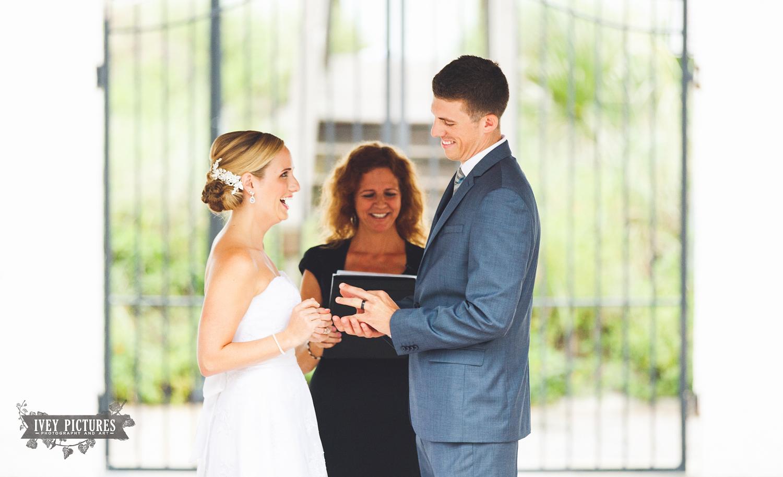 groom with wedding band