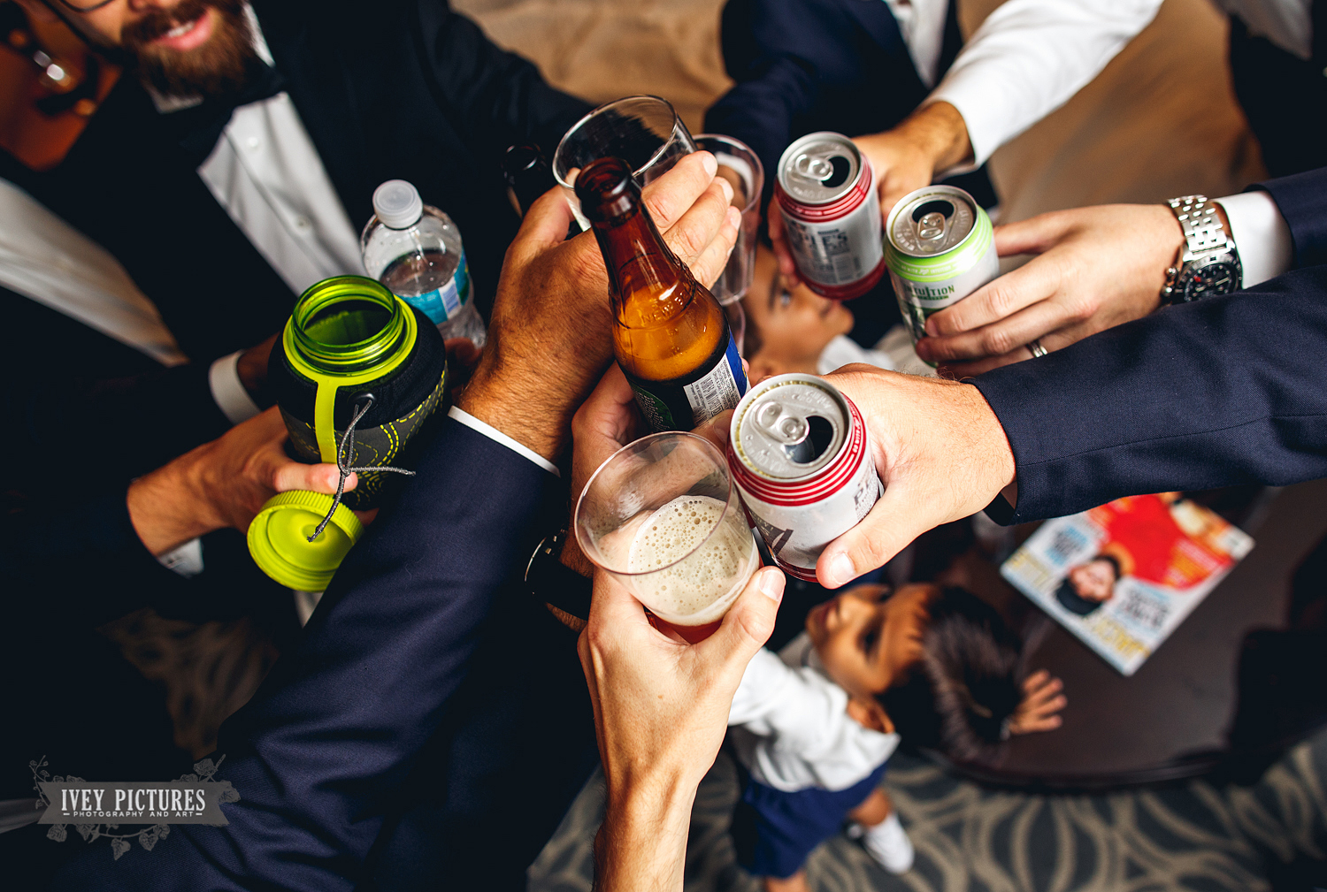 groomsmen cheers with Intuition Ale