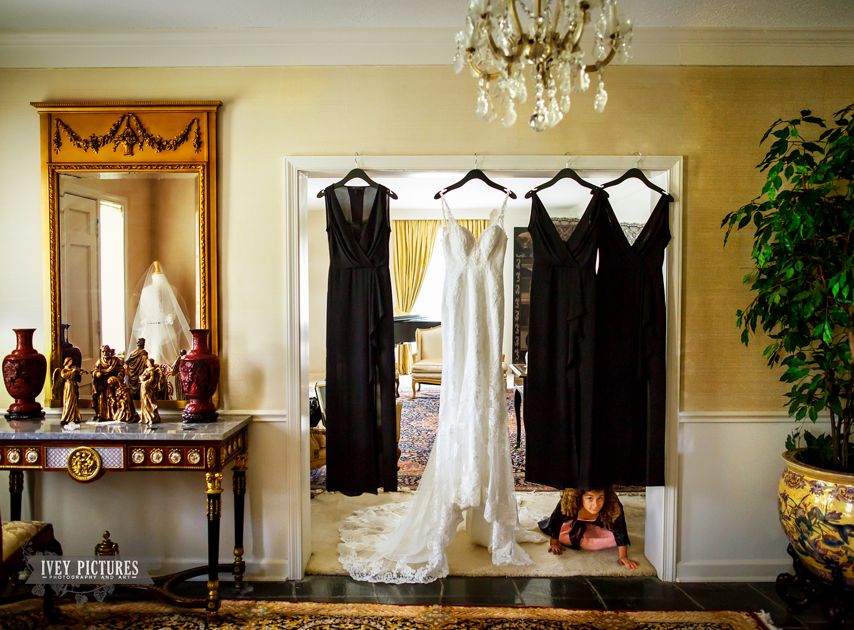 wedding dress with flower girl