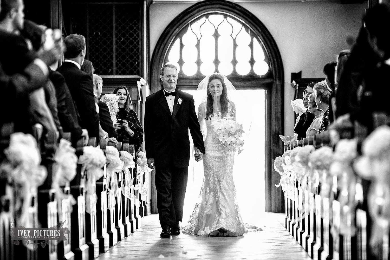 Bride walking downtime isle Jacksonville