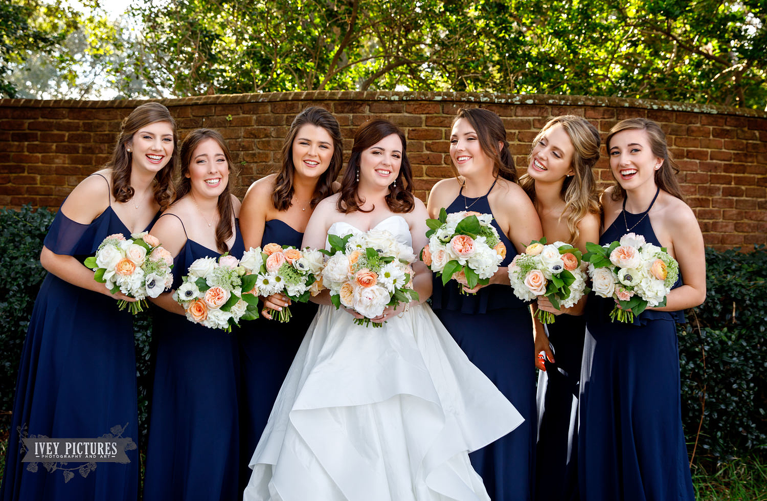 bride and bridesmaids at The Florida Yacht Club Jacksonville