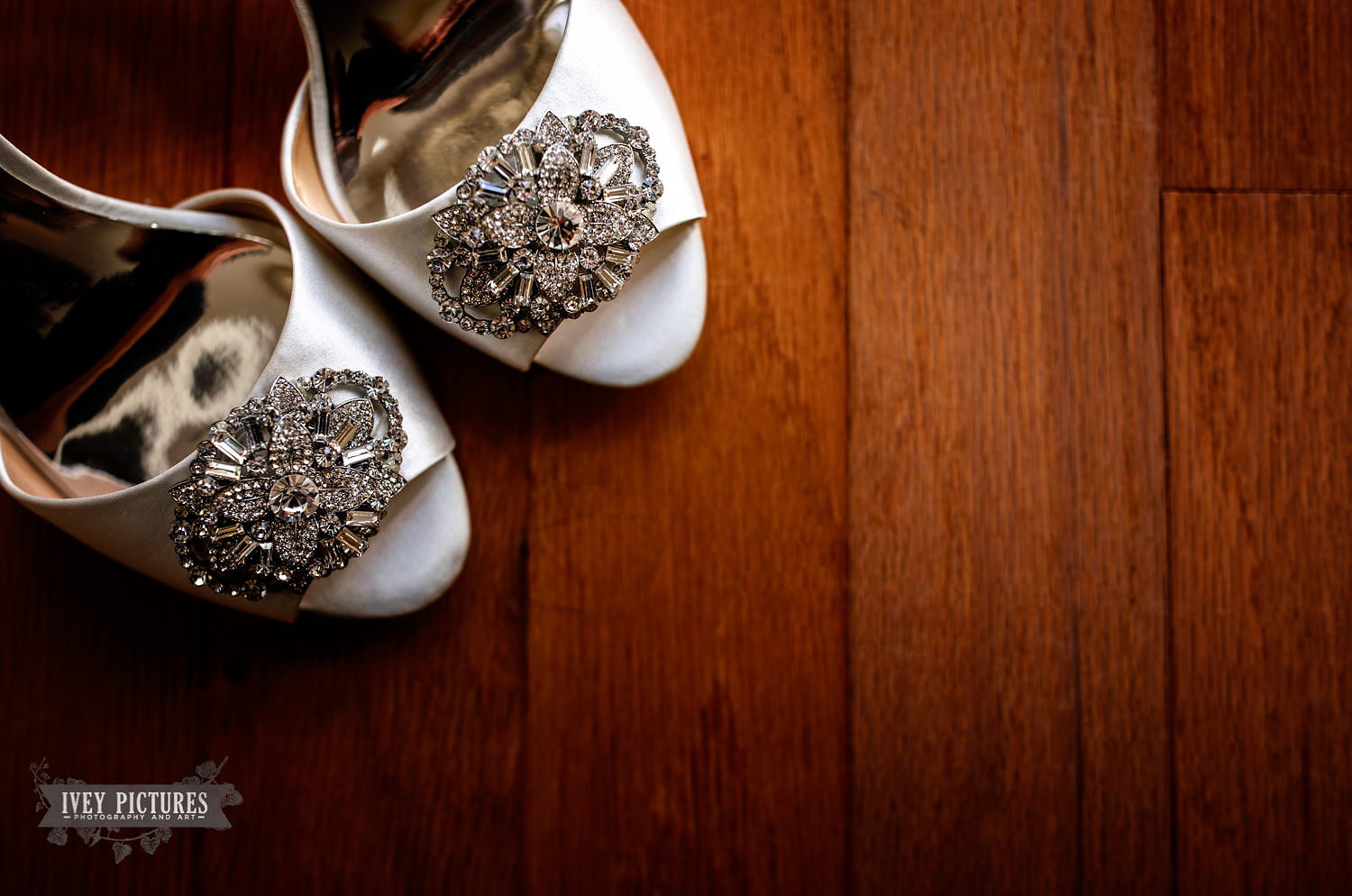 Wedding shoes on wood floor