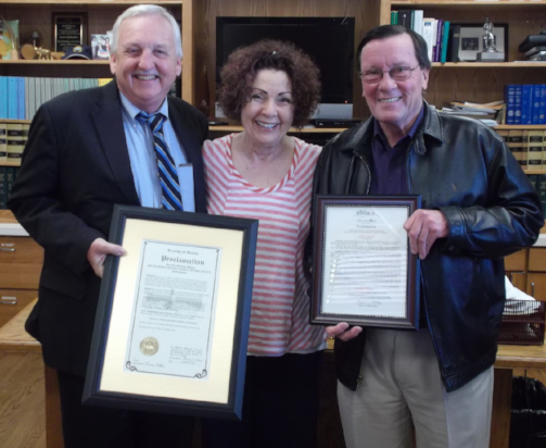 Sevier County Mayor Larry Waters, Sandra Gunn, Founder of LESLIE'S WEEK, and Sevierville Mayor Bryan C. Atchley at the Proclamation presentation ceremony in the Sevier County Courthouse, October 24, 2014.