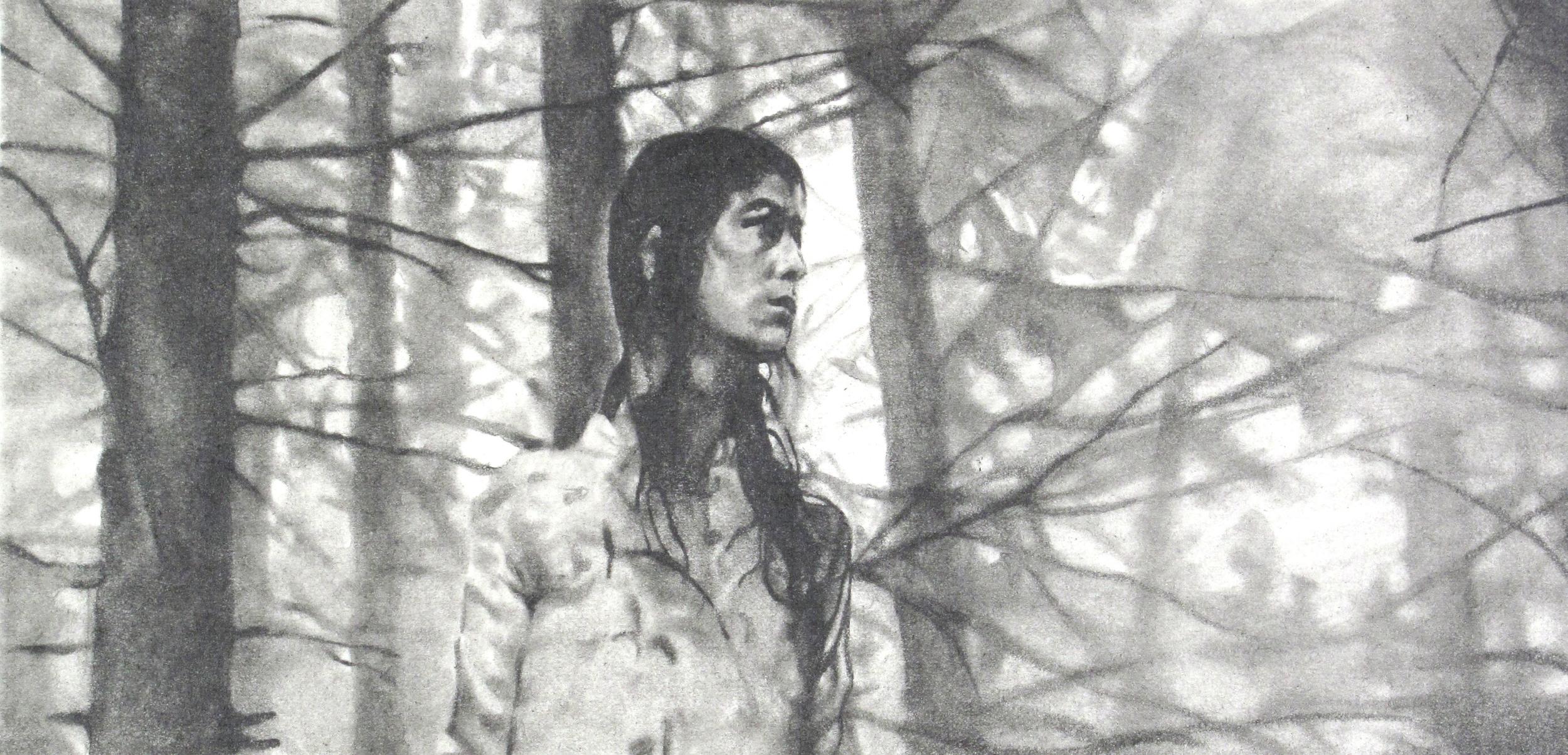 """Antichrist, Graphite on paper, 4.5"""" x 8"""", 2014"""