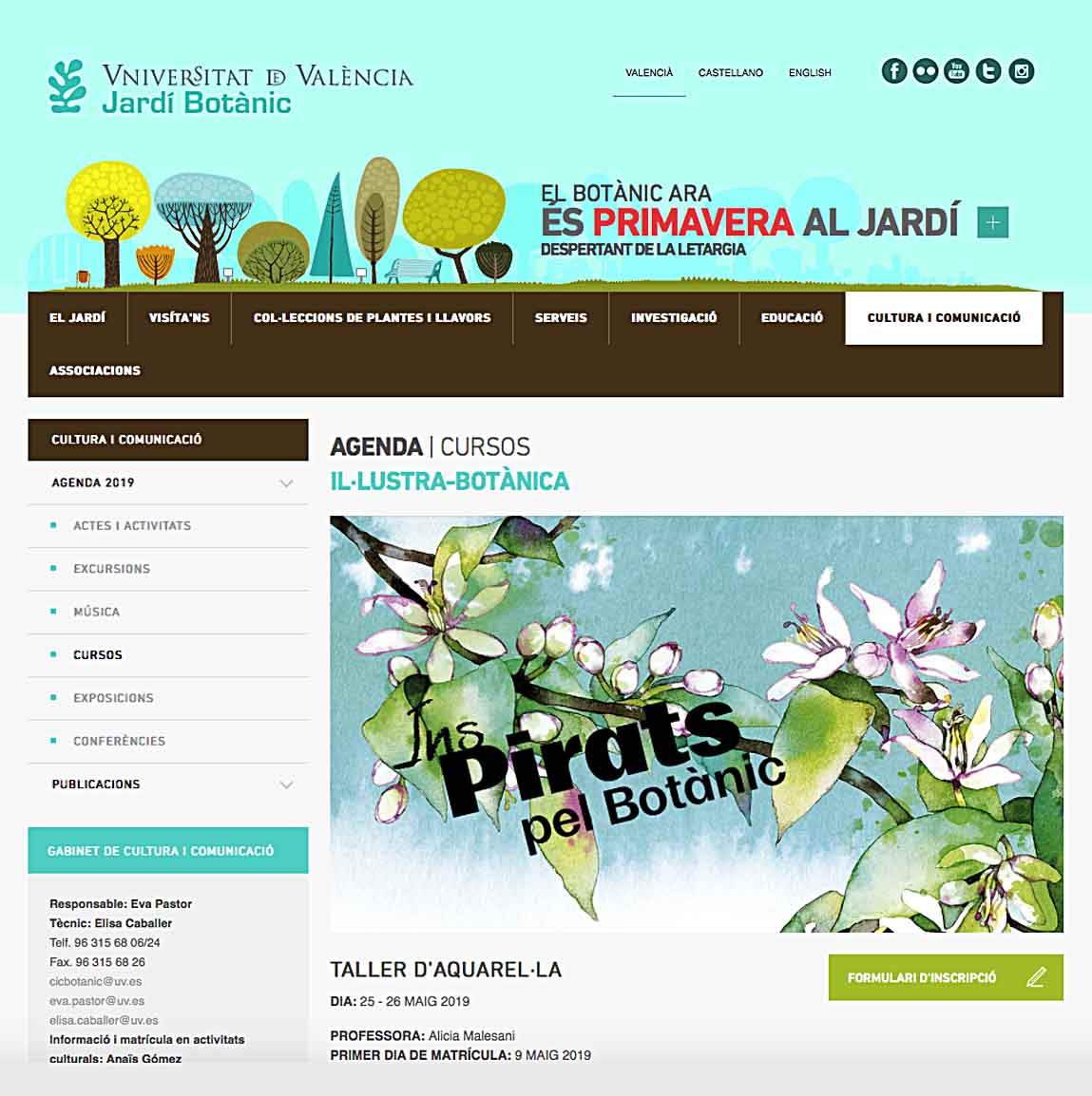Watercolor Workshop - Botanical Garden Valencia - May 25 / 26 - 2019  Taller de Acuarela en el Jardín Botánico de la Universidad de Valencia - Mayo 25 / 26 - 2019