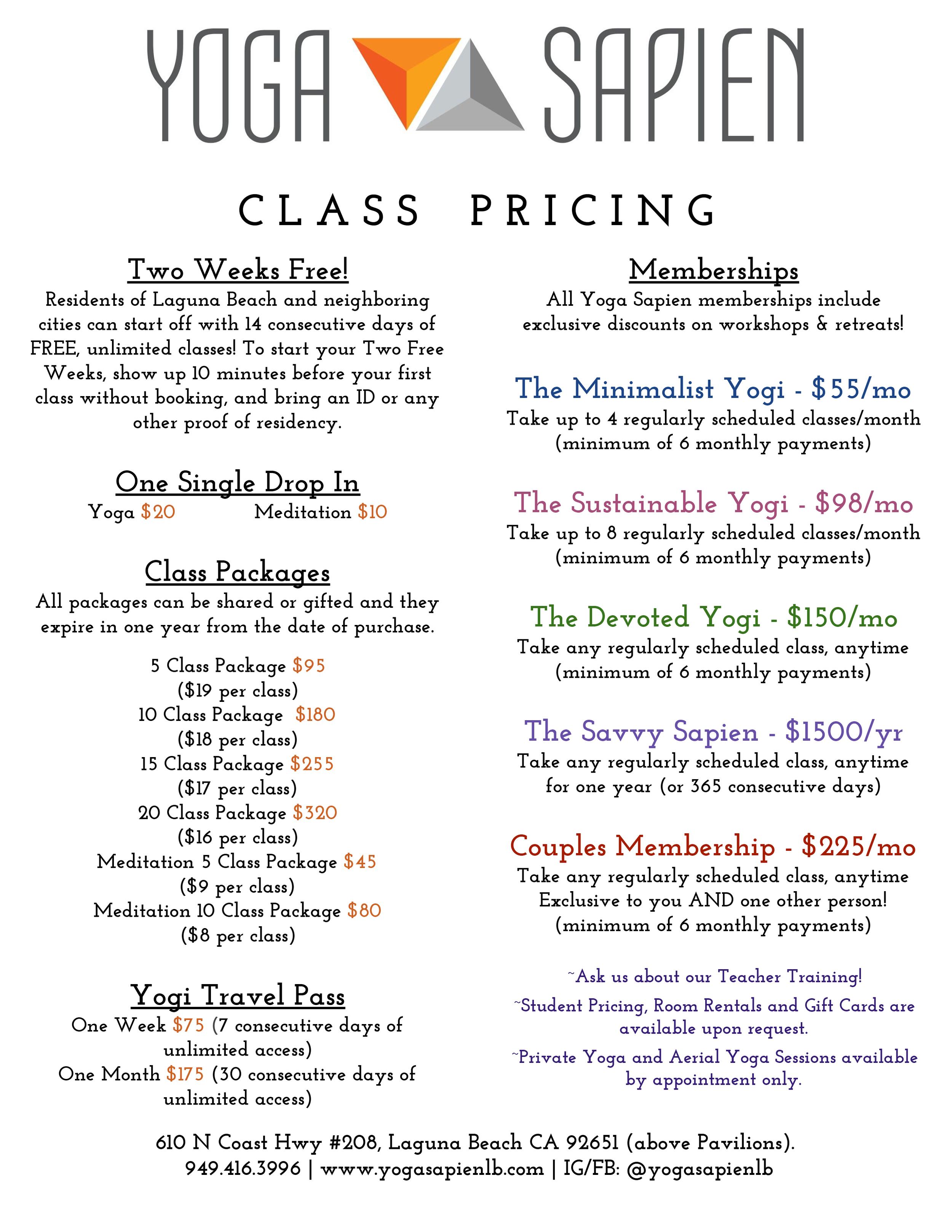 Yoga Sapien Summer '19 Schedule