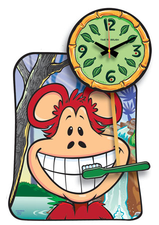 Time to Brush Monkey Clock