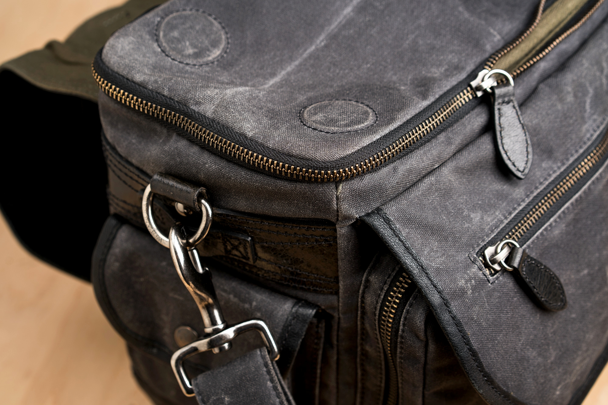 Wotancraft's innovative magnet system, bronze  YKK  zippers, heavy duty metal hardware and leather zipper pulls. Bespoke.