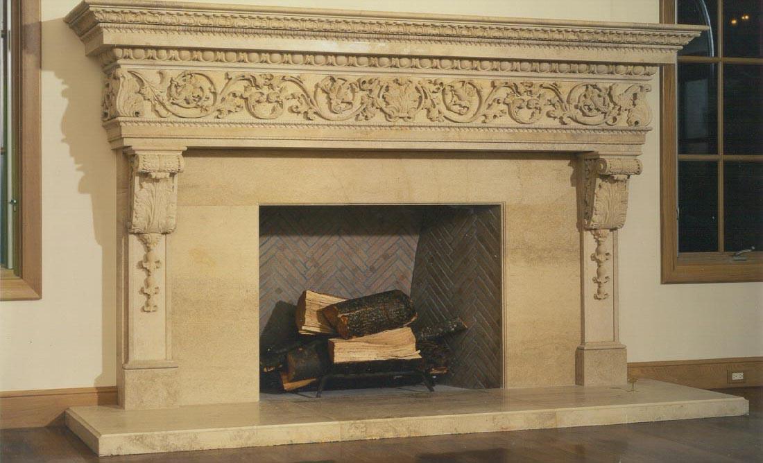 fireplace surround in beaumaniere limestone