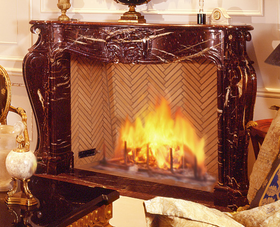 fireplace surround in rouge griotte marble