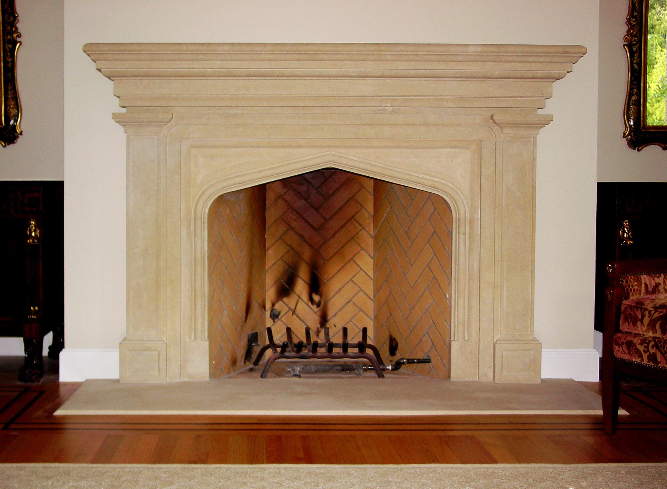 fireplace surround in limestone