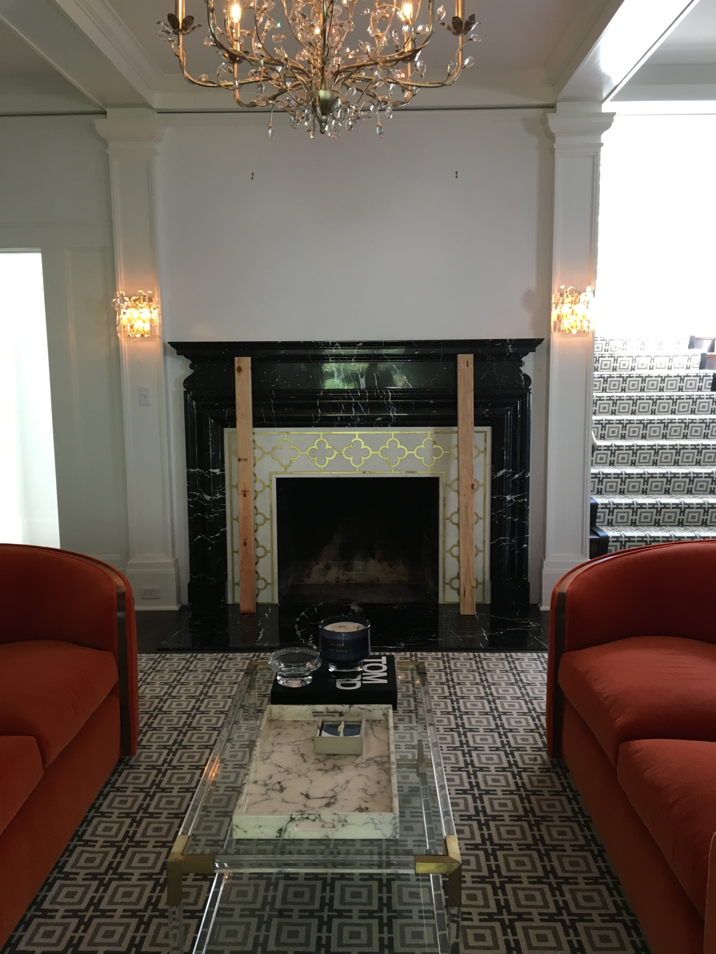 Installation of the fireplace surround almost complete