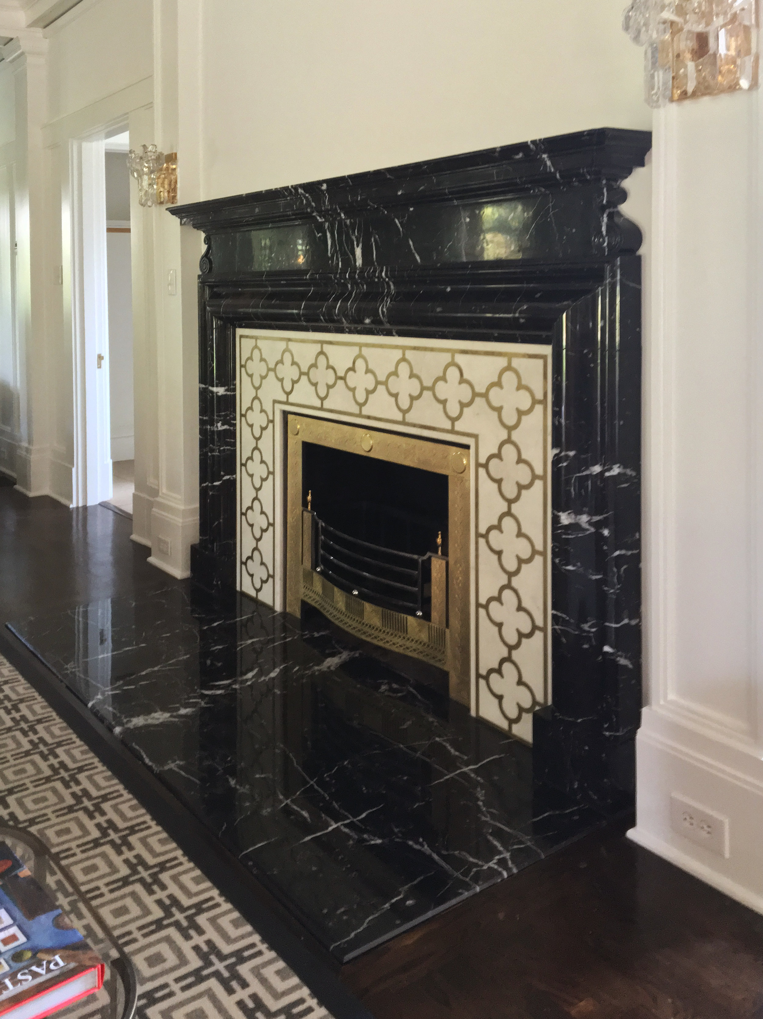 Black marble fireplace surround