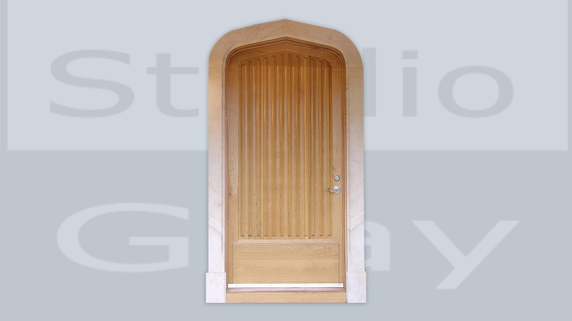 Door in White Oak and Beaumaniere Limestone Casing
