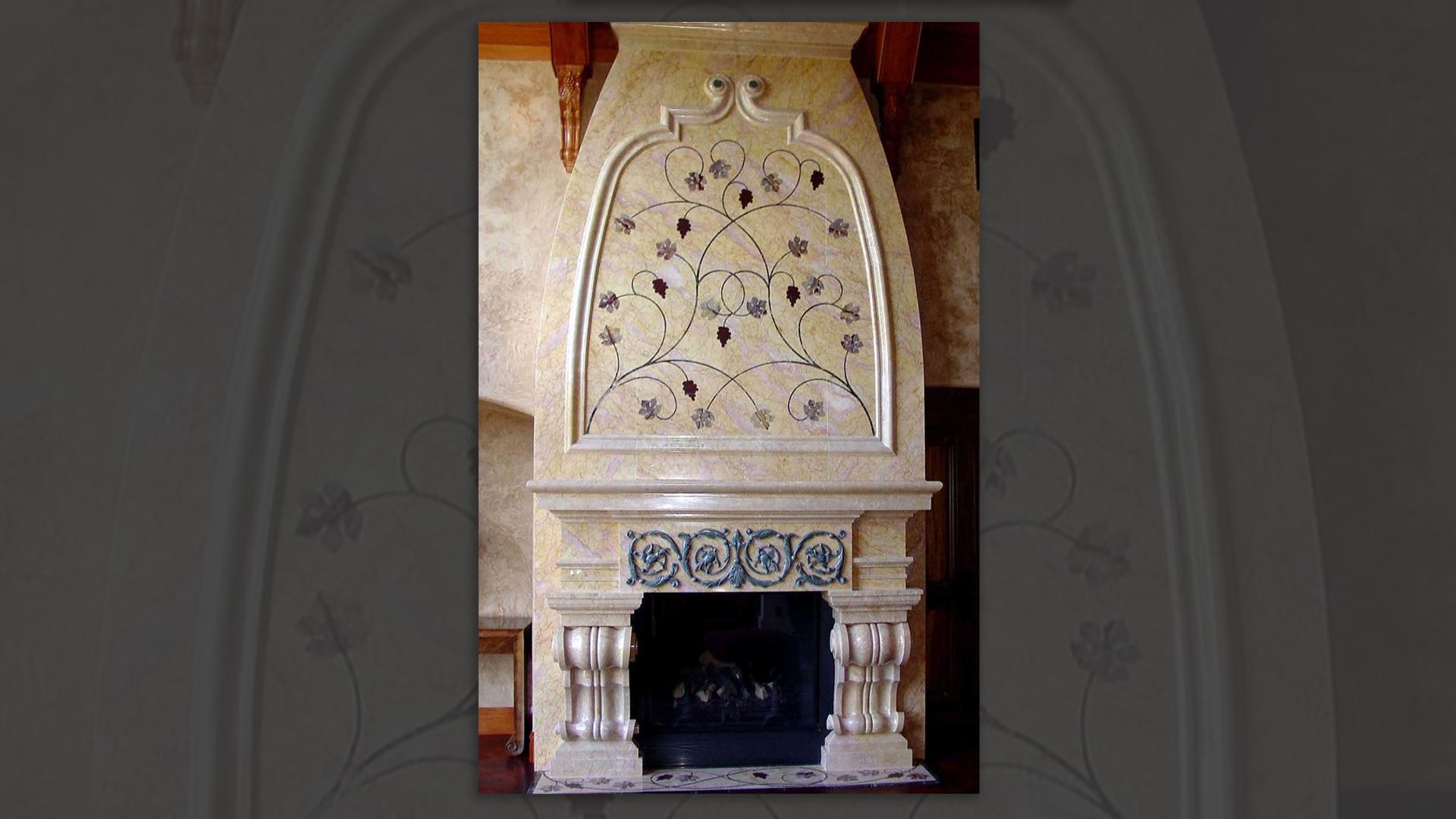 Fireplace Surround with Pietra Dura