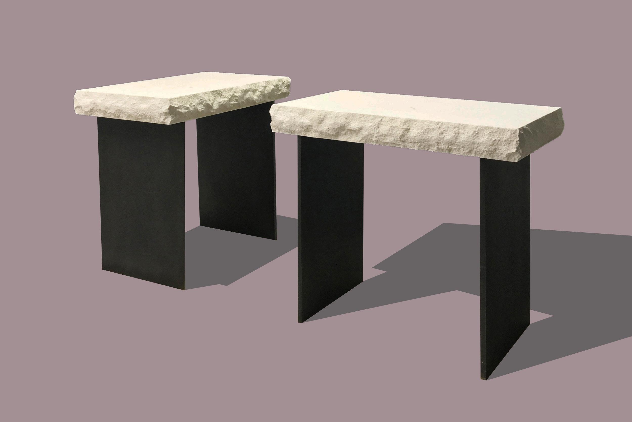 Limestone/Steel Side Tables