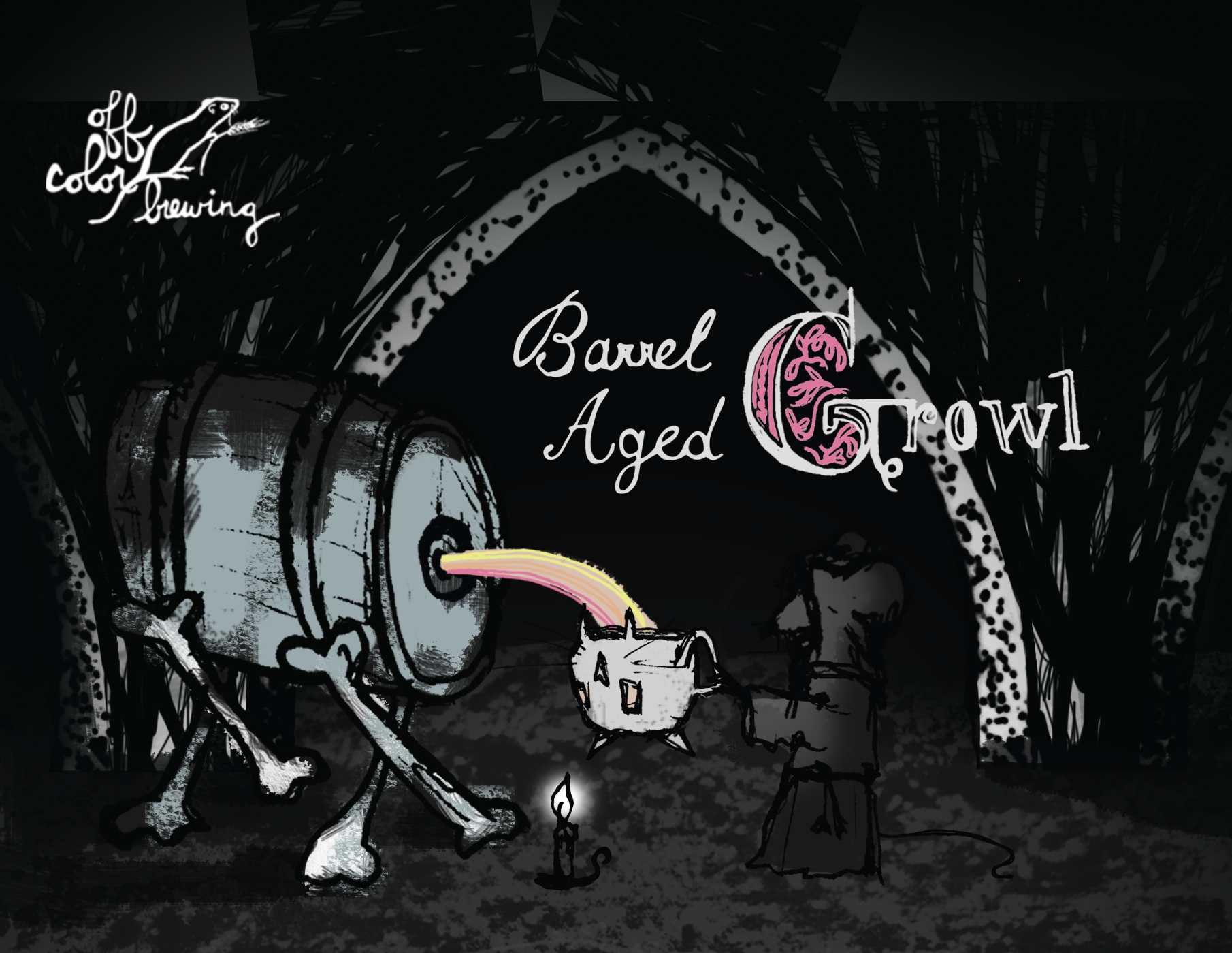 Barrel-Aged Growl Quadrupel Ale aged in Rye Whiskey Barrels   Availability:  Fall   ABV:  10% |  GRAVITY:  20 P |  IBUs:  28   MALTS:  Pils, Dark Munich, Oats, Dark Crystal   HOPS:  Nugget   SECRET INGREDIENTS:  Dark Candi Syrup, Second-use Willett 2 Year Rye Barrels