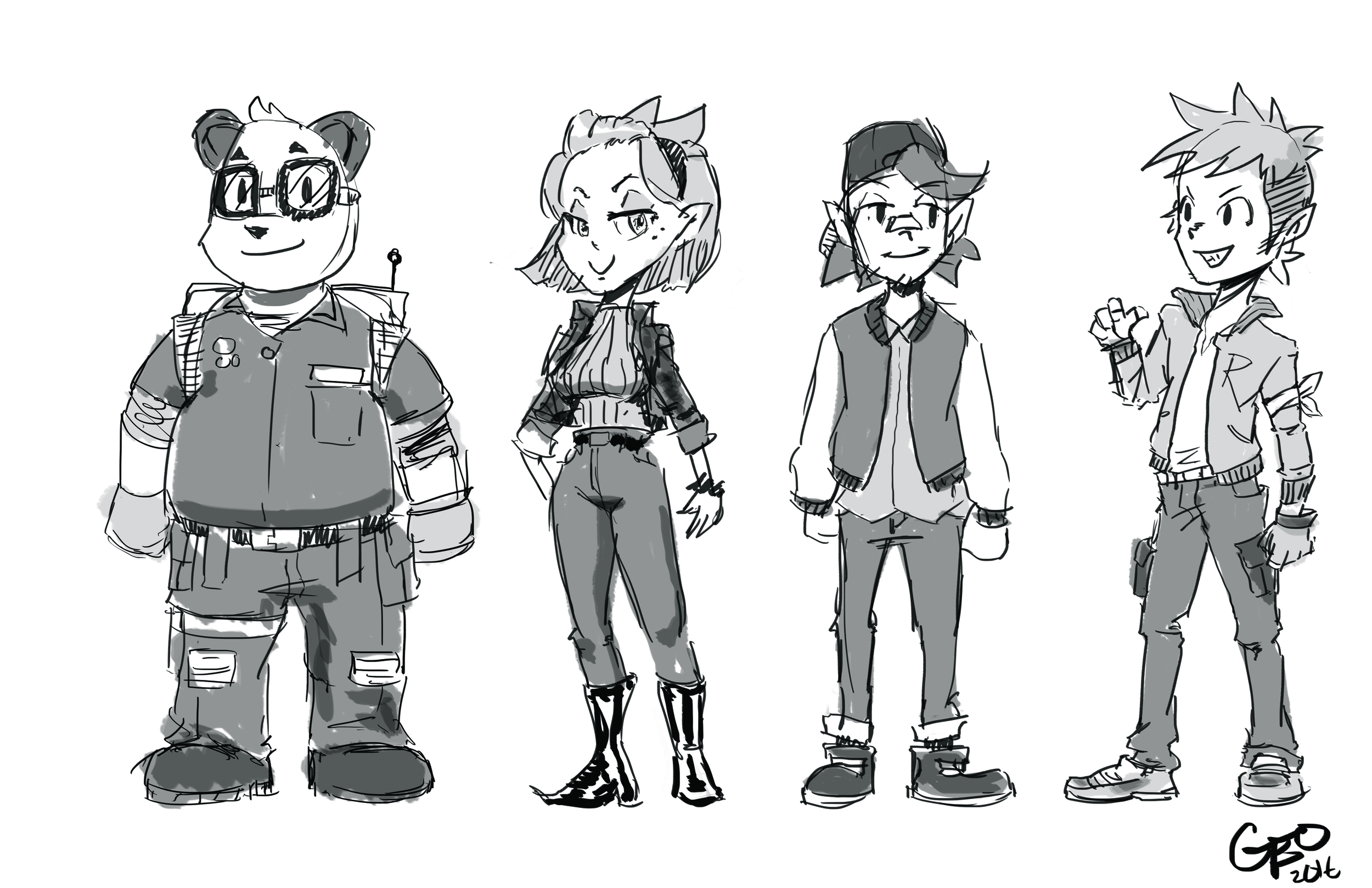 The mechanic trainee, Julie's long time rival and the Rokit Brothers