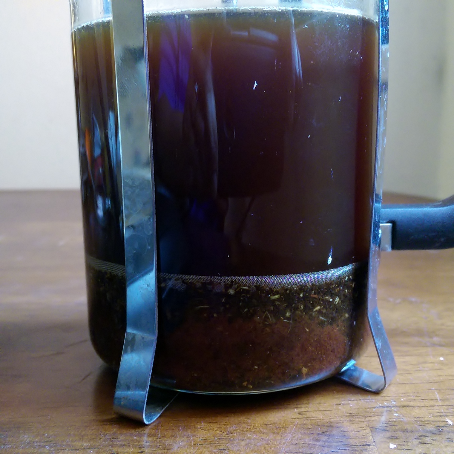 Using a French Press makes for easy straining. I love pressing down and seeing my syrup perfectly strained.