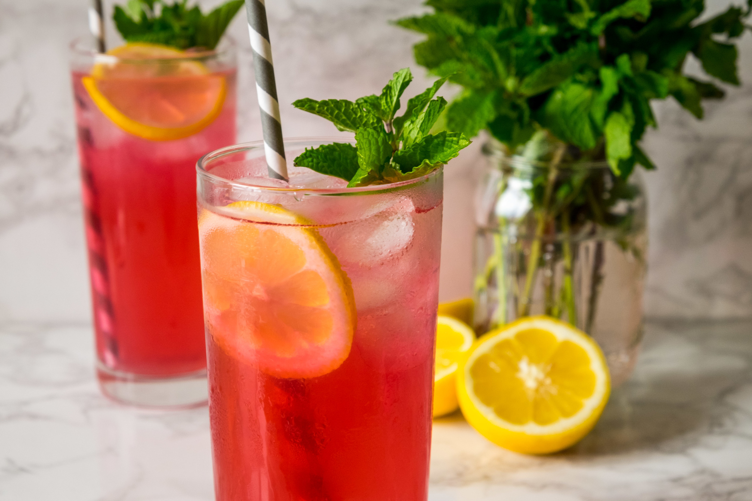 Pink Lemonade with blueberry infused vodka